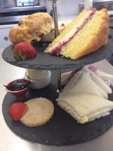 Afternoon tea in At Home Cafe in the Lake District town of Grange over Sands